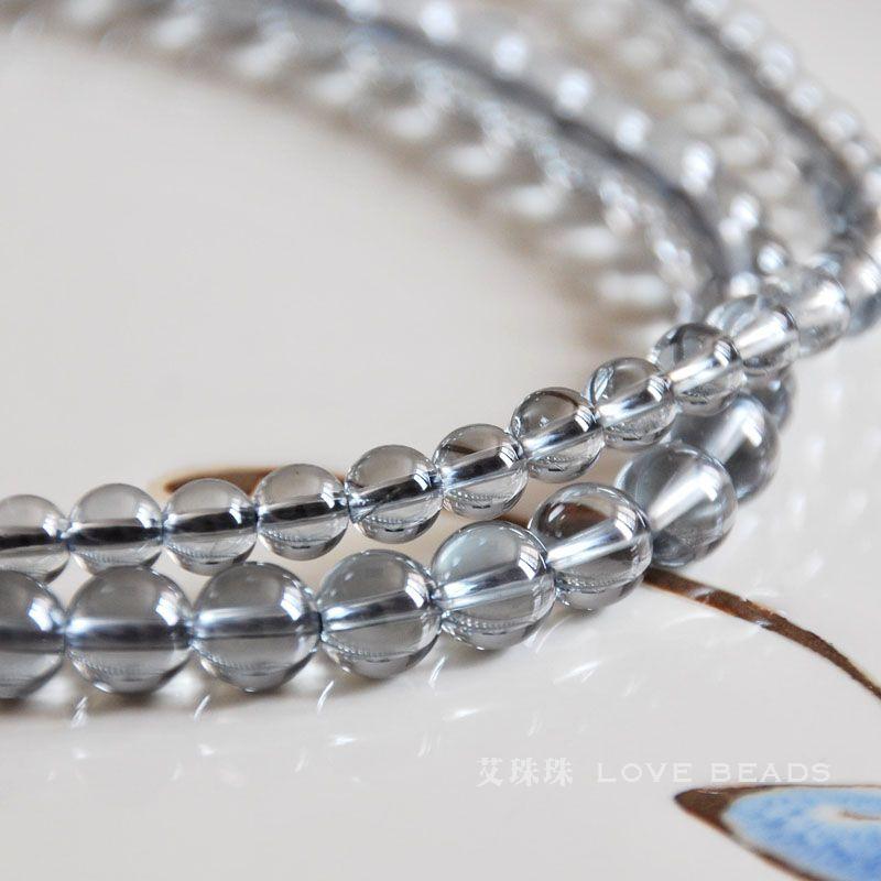 natural grey aqua aura crystal quartz 6mm round loose beads diy bracelet necklace earring jewelry craft findings-