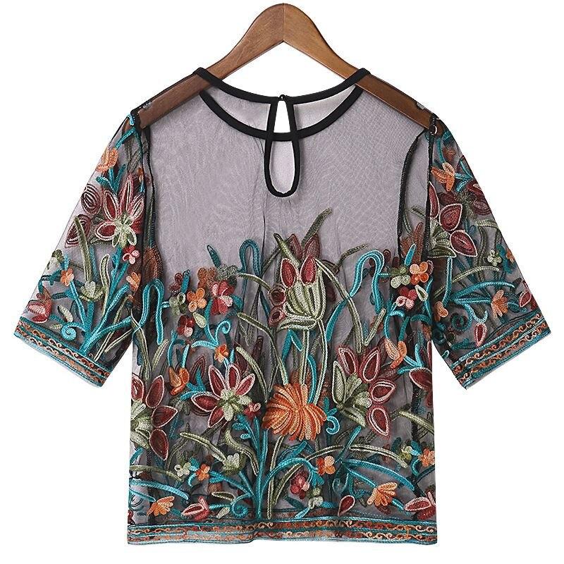 Mujeres bordado Shorts camisa blusa de manga corta de malla de cuello redondo Floral bordado camisa femenina blusa manga corta Camiseta