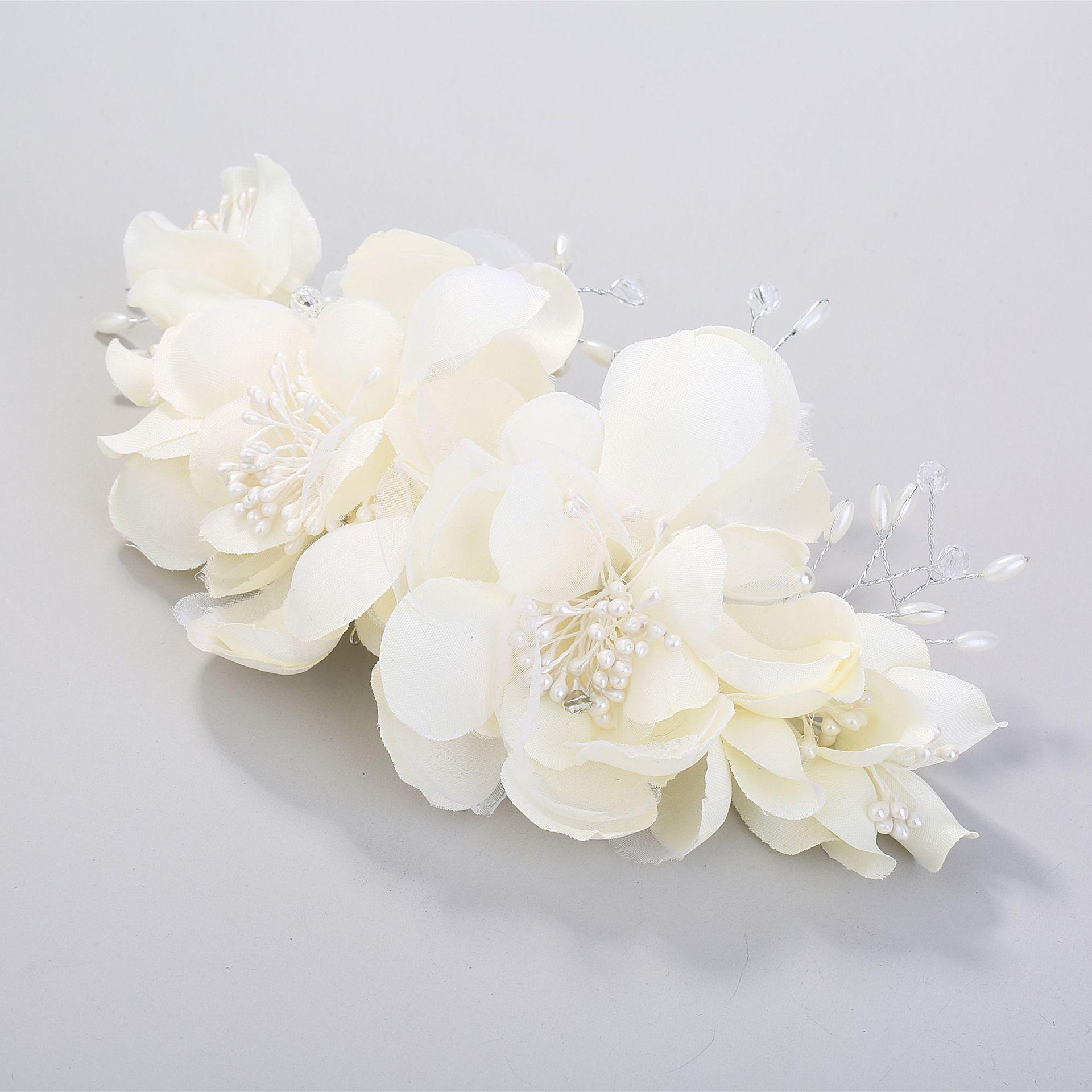 Peineta de hilo beige, estilo Flor del pelo, tiara nupcial, diadema tiara de boda, corona para el pelo para novia, diadema
