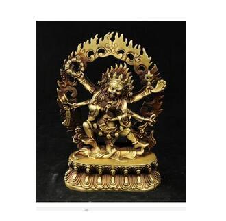 Colección de cobre vivo elaborado antiguo artesanías exquisito budista Vajra 6 brazos Mahakala Buda personaje estatua para proteger la oración