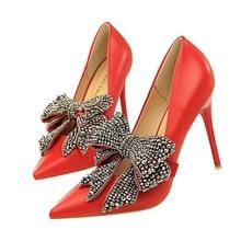 Women High Heels Pumps Rhinestone Bowknot Pointed Toe Women Pumps Ladies Elegance Office Shoes Thin High Heel Plus Size 34-40