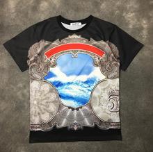 High New Novelty 19ss Men Palace waves scenery T Shirts T-Shirt Hip Hop Skateboard Street Cotton T-Shirts Tee Top kenye #a75