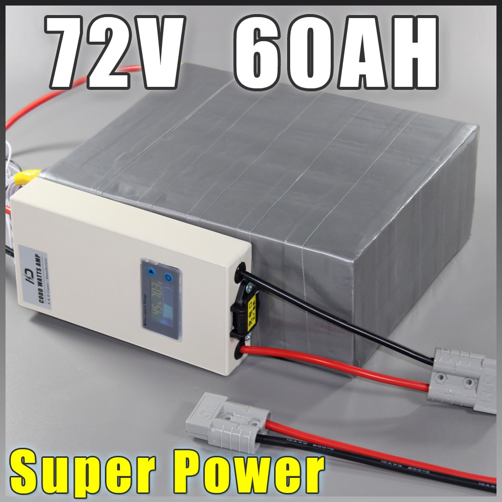 Paquete de baterías LiFePO4 de 72V 60Ah, batería de bicicleta eléctrica de 4000W + cargador BMS 72v Paquete de batería de bicicleta eléctrica de litio scooter