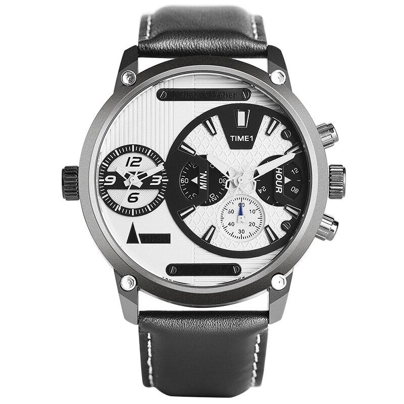 Высококачественные роскошные мужские наручные часы с двойным часовым поясом 3ATM водонепроницаемые кварцевые черные синие часы с циферблат...