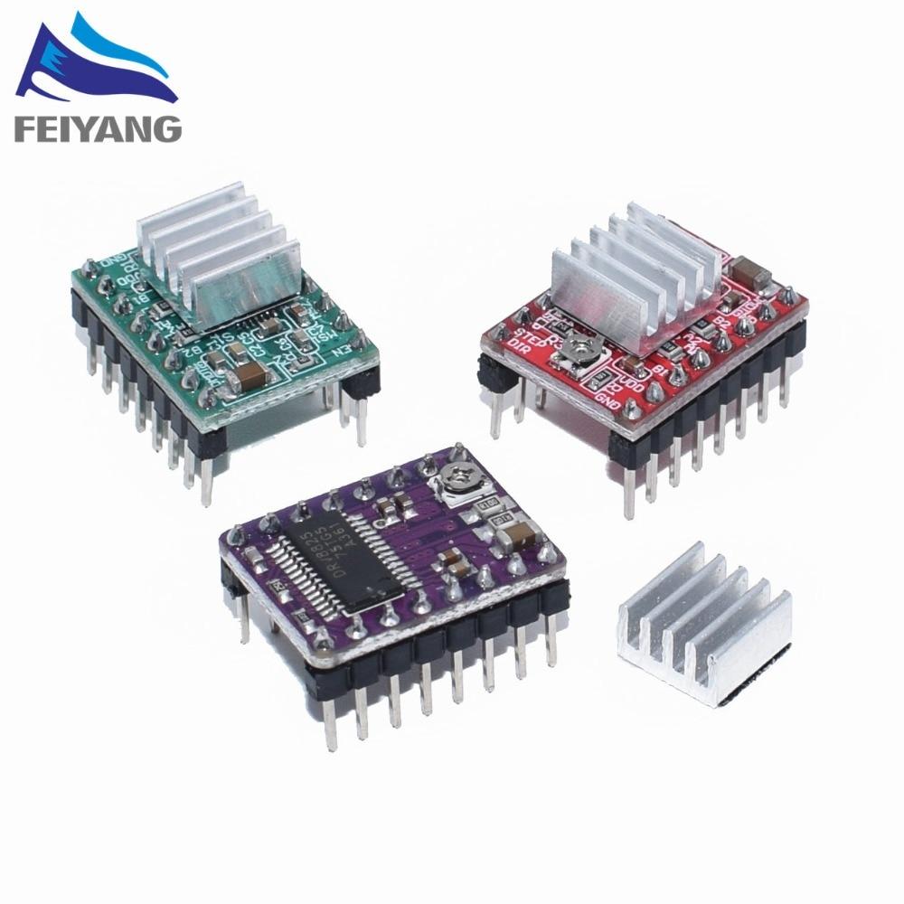 50 Uds. Piezas de impresora 3D Reprap A4988 DRV8825 módulo controlador de motor paso a paso con disipador térmico Stepstick DRV8825 Compatible con StepStick