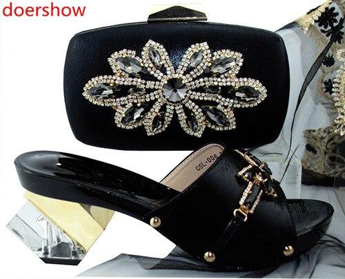 Doershow moda estilo 2018 nueva llegada italiana juego de zapatos y bolsas para boda africana ¡las mujeres! SH1-39