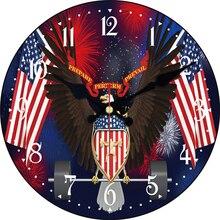 Patriotismo Americano Bandeira Da Águia Relógio Silenciosa Relógio Relógio de Parede Sala de Estudo Cozinha Galeria de Arte Relógios de Parede Do Vintage Grande Relógio