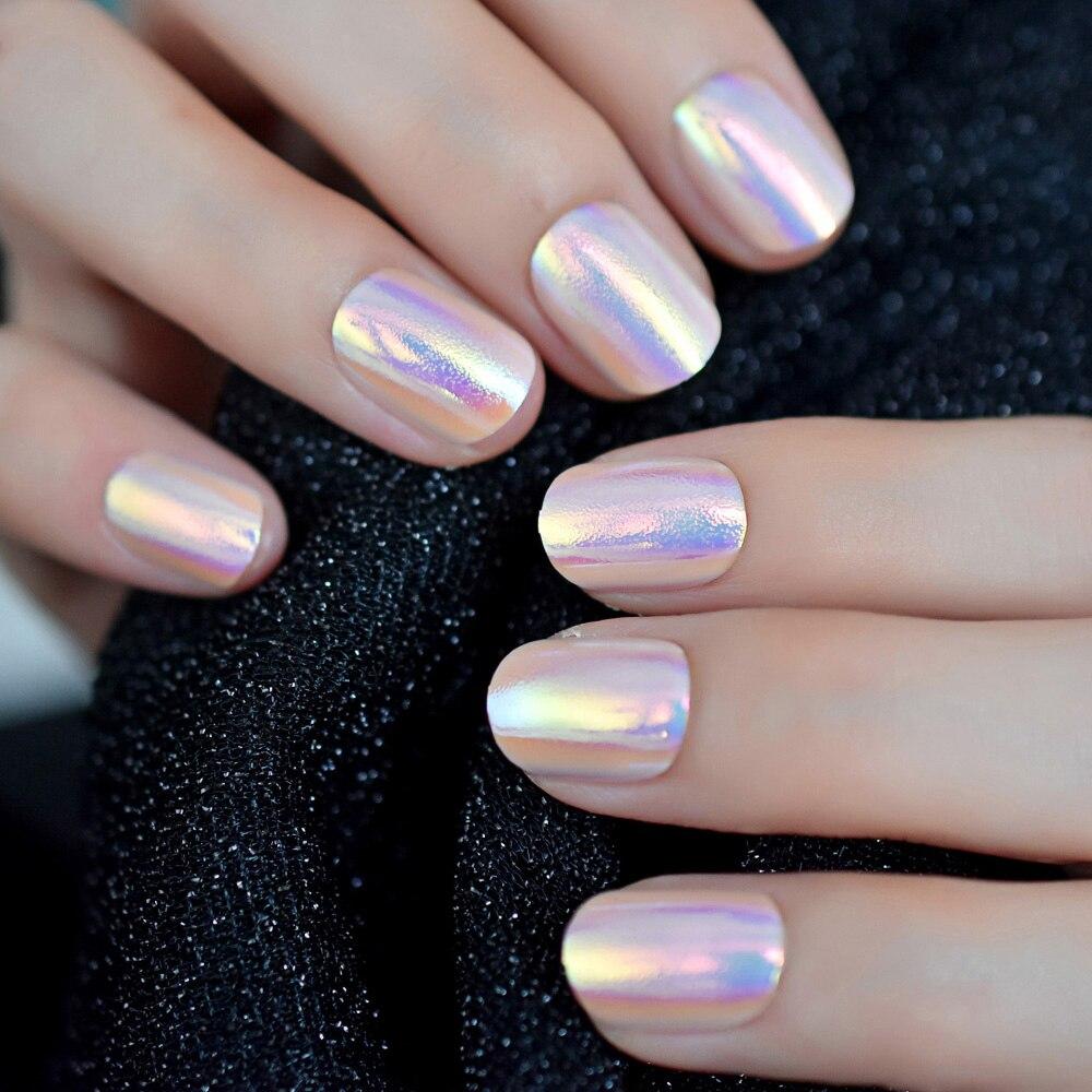 Cor mágica holo camaleão rosa roxo unhas falsas abalone concha luz de ouro curto redondo falso prego capa completa dicas dedo