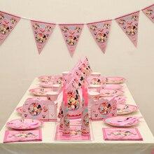 Fournitures pour fête Minnie 104 pièces   Décoration pour fête danniversaire pour enfants, service de vaisselle, cadeaux de décoration pour fête de mariage
