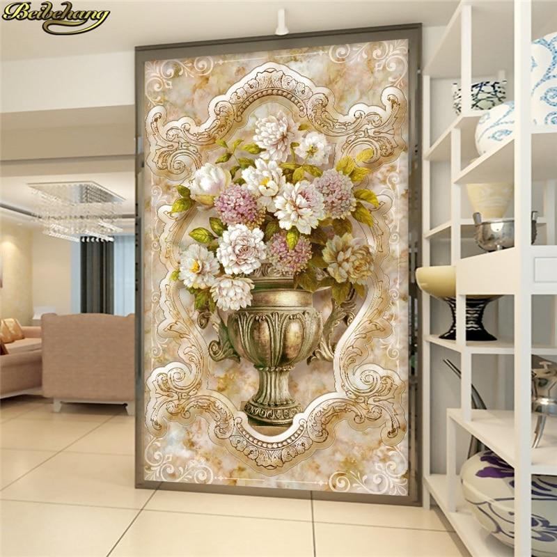 Beibehang 사용자 정의 사진 3d 벽지 스테레오 오목 볼록 유럽 스타일의 대리석 그림 꽃병 양각 미스터리 tv 배경