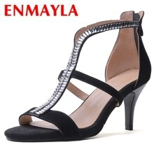 ENMAYLA  Kid Suede  Basic  Casual  Women Sandals Summer 2019 High Heel Sandals  Zip Fashion  Women Shoes Size 34-39 LY1103