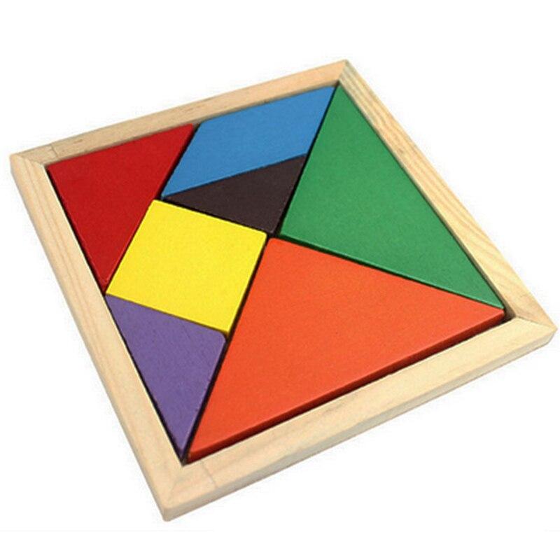 Rompecabezas Tangram de madera de 7 piezas, juego de inteligencia rompecabezas cuadrado colorido, juguete educativo inteligente divertido para chico, niños y niñas