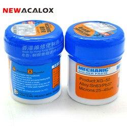 Newacalox ferramenta de solda pasta fluxo XG-50 sn63/pb67 smd smt para 936 852d estação ferro solda 2 pçs/set total 70g