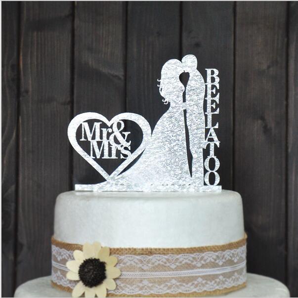 Gran oferta para tarta de boda, adorno personalizado para tarta de boda, brillo acrílico plateado, adorno para tarta de boda, apellido personalizado