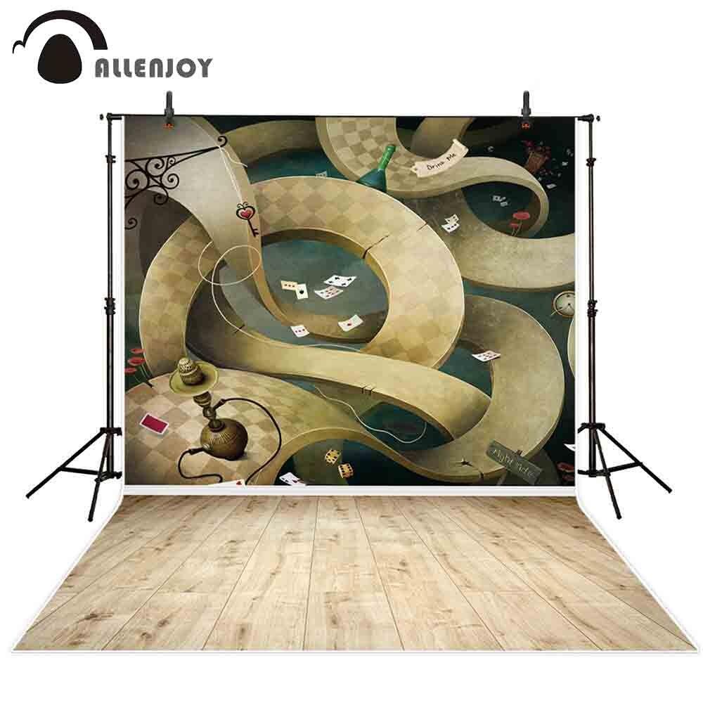 Fondo Allenjoy photocall Alicia laberinto fantasía Hada de los sueños dibujos animados de madera papel pintado de suelo fiesta tiempo fotografía telón de fondo
