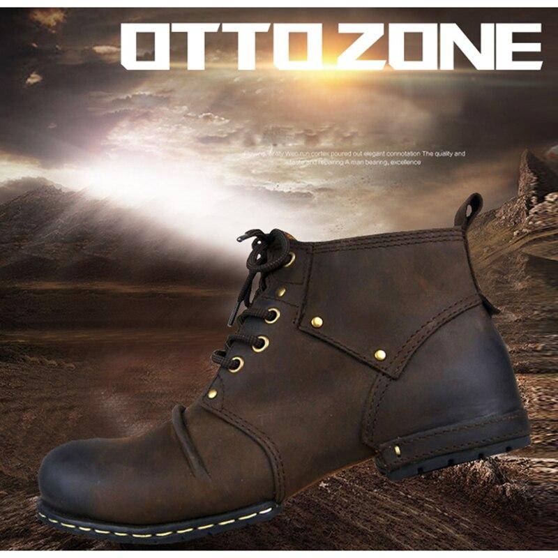 OTTO ZONE-أحذية شتوية مصنوعة يدويًا من جلد البقر الأصلي للرجال ، أحذية برباط للكاحل ، مقاس فرو