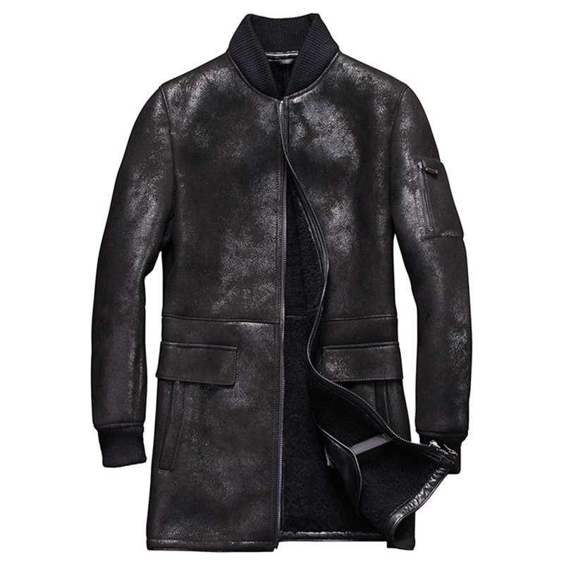Denny&Dora Mens Shearling Coat Mens Fur Coat Long Style Baseball Sheepskin Leather Jacket