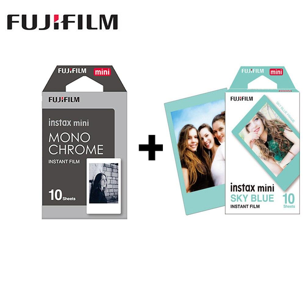 2 packs Fujifilm Instax Mini Film Monochrome + blue Frame For Polaroid  Mini 8 7s 7 50s 50i 90 25 dw Share SP-1 Instant lomo