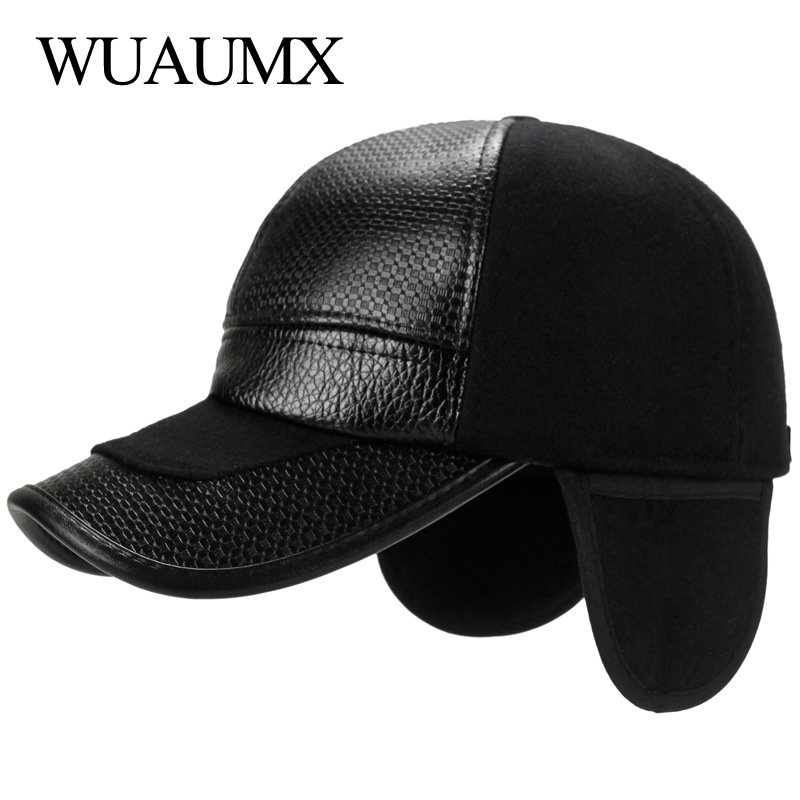 Wuaumx NEW Fall Winter Baseball Caps Men With Ear flaps Cotton PU Leather Warm Thick Snapback Cap Men Dad Hat Casquette homme