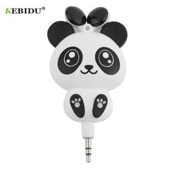 Kebidu 3.5mm fone de ouvido bonito panda dos desenhos animados retrátil mp3 mp4 para android ios sistema inteligente fones handsfree