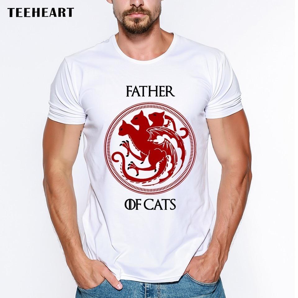Pai dos gatos homem camiseta carta impresso engraçado t camisas de manga curta casual o-pescoço hipster topos