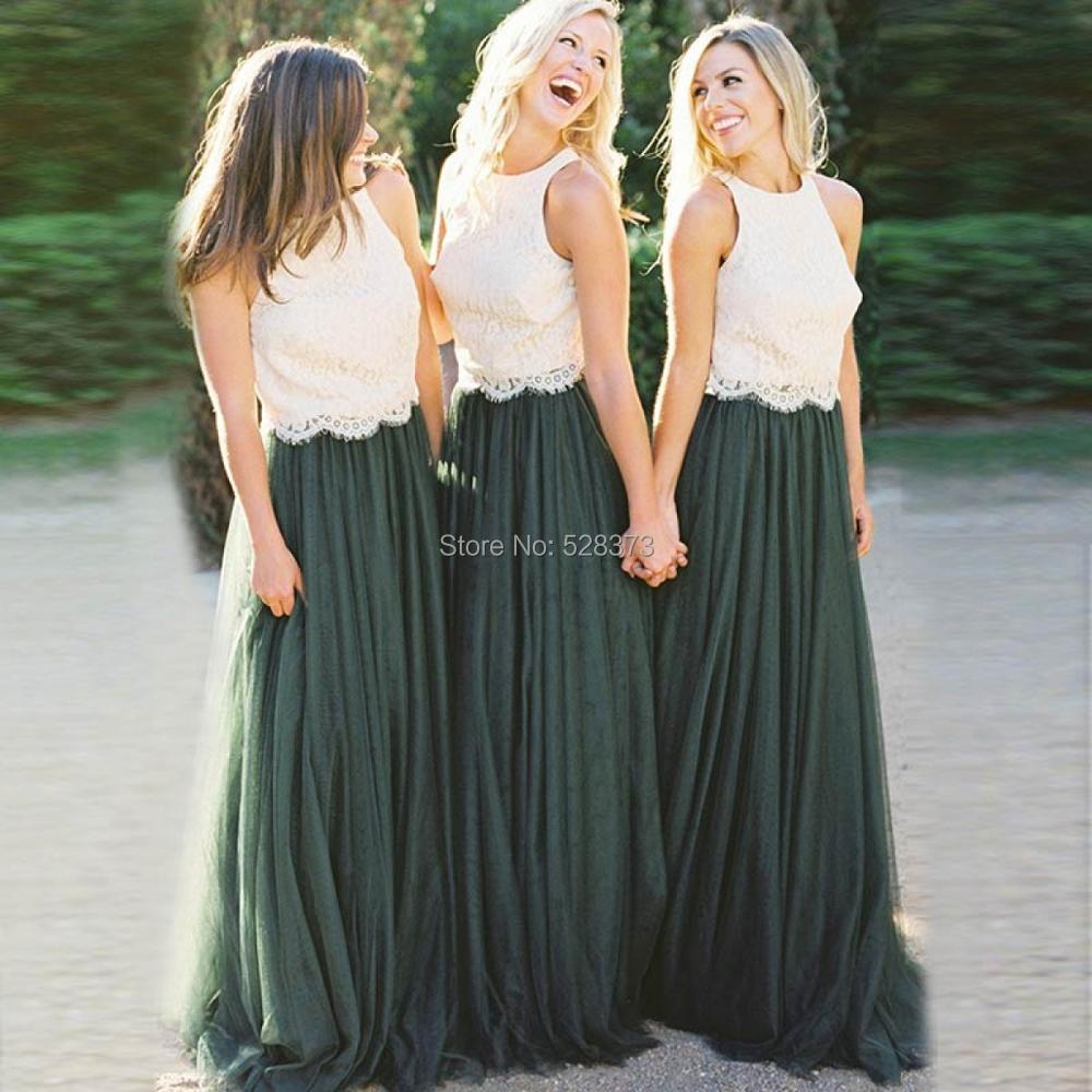 YNQNFS BD27 أنيقة ألف خط 2 الألوان العاج الدانتيل أعلى الزمرد الأخضر تول تنورة وصيفه الشرف فساتين طويلة
