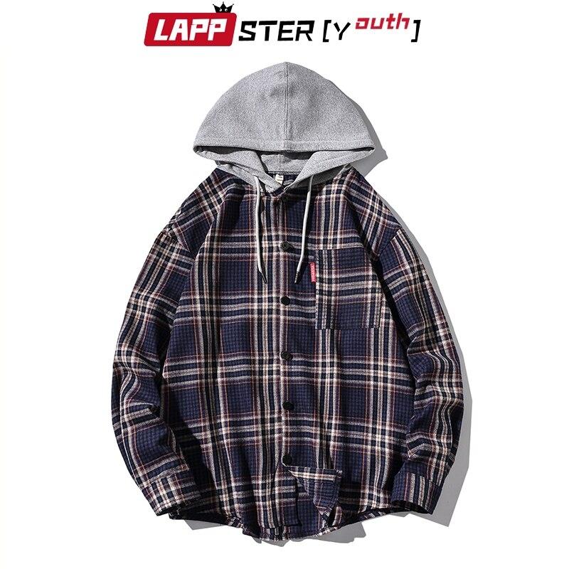 Abrigo para hombres LAPPSTER, chaqueta de carga a cuadros, 2020 botones de Otoño de Harajuku, cortavientos de Hip Hop, chaquetas, Abrigo con capucha Vintage 5XL