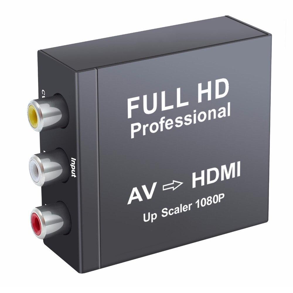 AV Conversor HDMI para Composite RCA CVBS AV para HDMI Conversor de Áudio e Vídeo Adaptador AV2HDMI Suporte Adaptador 720 P/ 1080 p de Metal