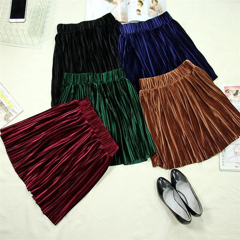 Estilo inglés 2020 otoño mujer terciopelo plisado liso mini falda de talla grande falda de terciopelo M-6XL