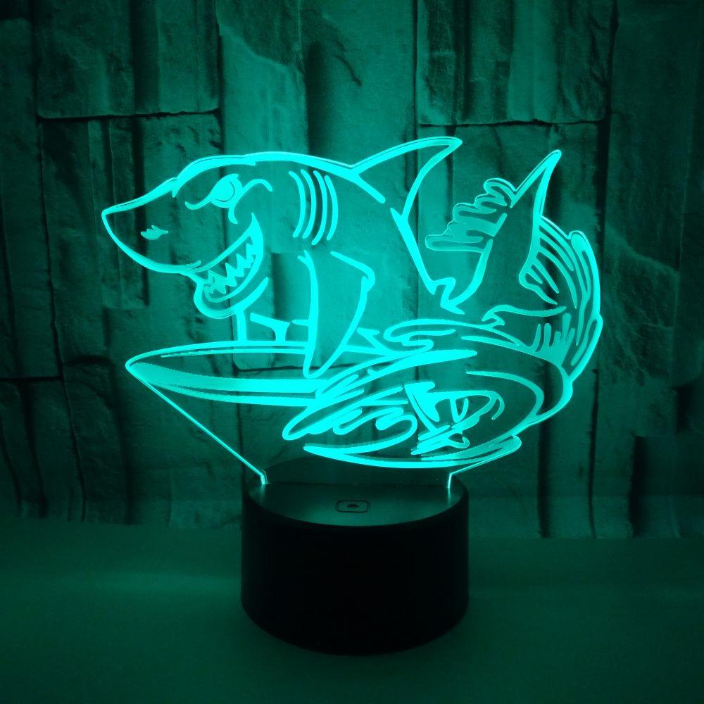 2019 3D LED USB Nacht Licht Meer Jump Shark kinder Spielzeug Geschenk Schlafzimmer Dekorative Multicolor Tisch Lampe Home Party beleuchtung Kabel