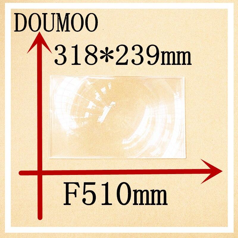 Lentes de fresnel grandes rectangulares 318*239mm longitud Focal 510 mm lente de condensador lente de fresnel de plástico plano magnificat fresnel lente