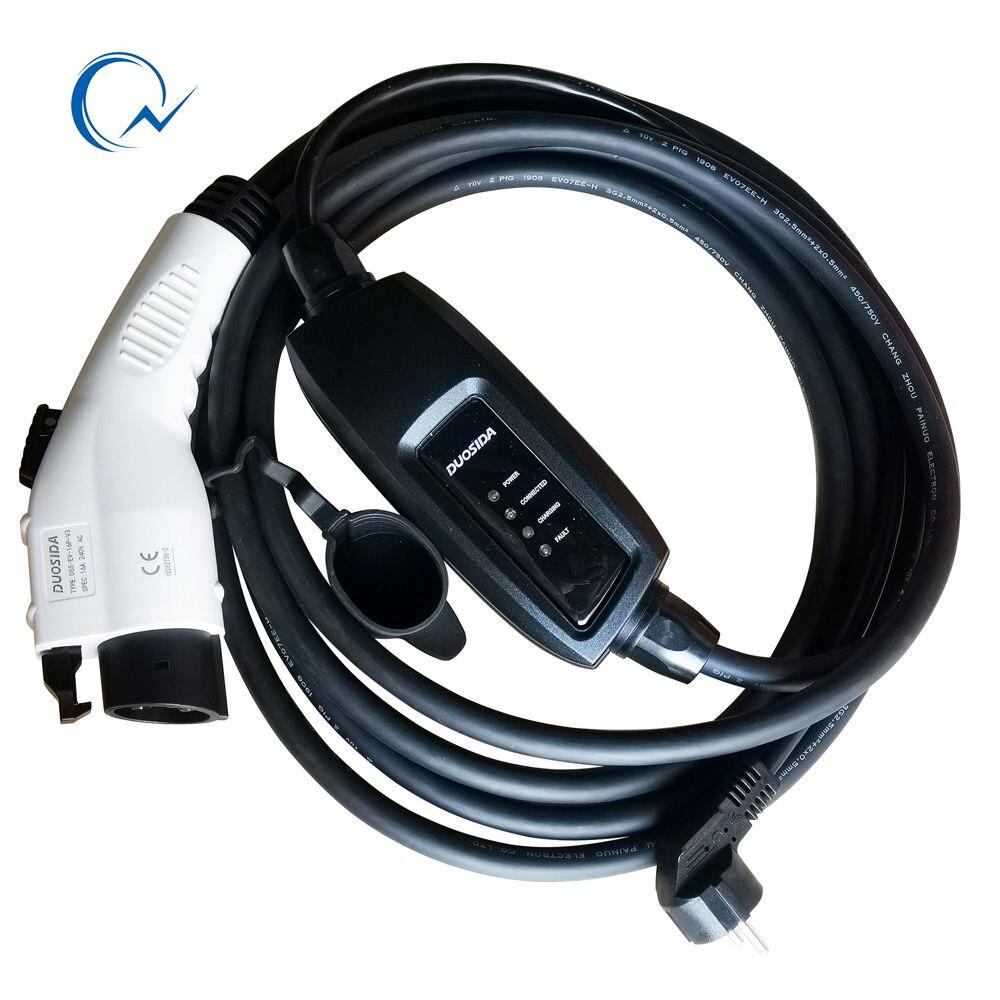 ¡16A J1772 EVSE EV plug level1 EV cargador Tipo 1 Conector francés con cable de 5M para Carga de coche eléctrico Modo 1 plug STOCK!