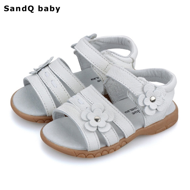 Kids Sandals 2020 Summer Genuine Leather Children for Girls Flower Princess Shoes Breathable Baby