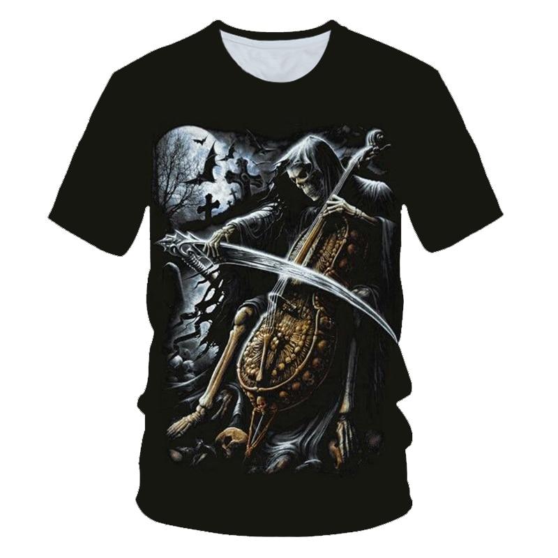 Cráneo fantasma llama camiseta hombres camisetas música 3d camisetas de guitarra Casual Metal camisa imprimir oscuridad gótico Anime ropa Cool Tops