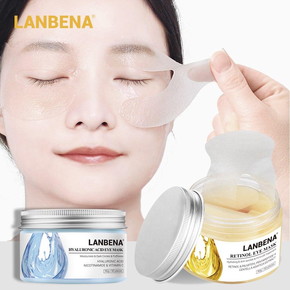 LANBENA Retinol Eye Patch Eye Mask Hyaluronic Acid Serum Remove Dark Circle Puffiness Ageless Lifting Firming Skin Care 50pcs