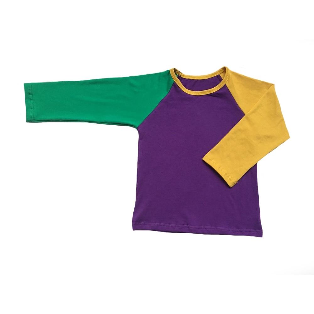 Nova orleans crianças roxo verde e listra ouro cores do feriado do bebê meninas infantil mardi gras plissado roupas