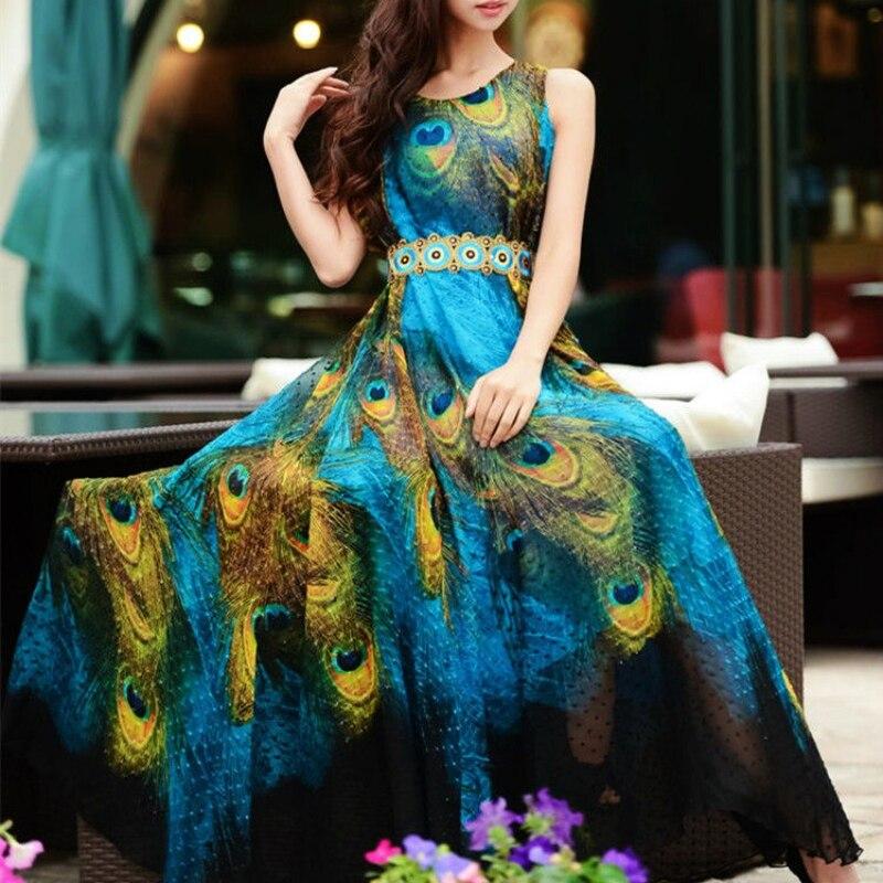 Женское длинное платье без рукавов, летнее пляжное шифоновое платье с принтом павлина