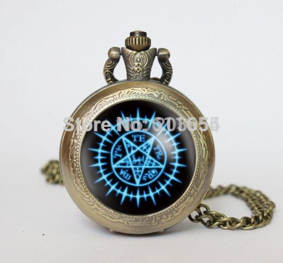 Handmade movie 12pcs/lot Sebastian Michaelis Black Butler Contract seal emblem pocket watches locket necklace vintage Pendant