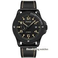 2018 New Arrival Parnis 44mm Mens Watches Miyota Luminous Hands Mechanical Watches Luminous Waterproof Black Dial Watch Men Gift