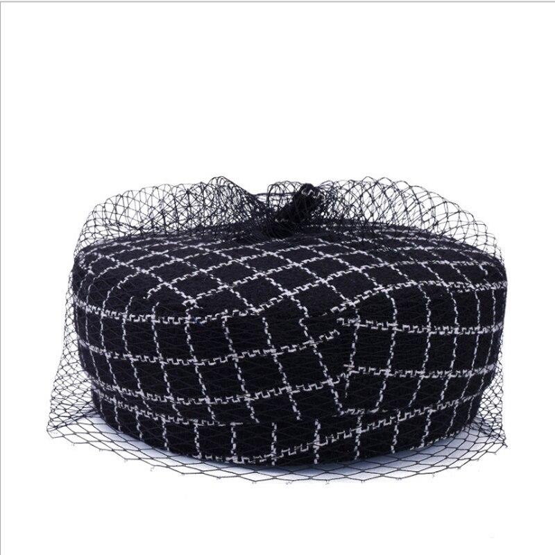 Classic Lattice Beret Hat For Female Winter Net Yarn Octagonal Hats Elegant  Thicken Berets Painter Cap For Women