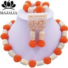 Mode perles de mariage africaines corail blanc et plastique mariage nigérian perles africaines ensemble de bijoux livraison gratuite Majalia-295