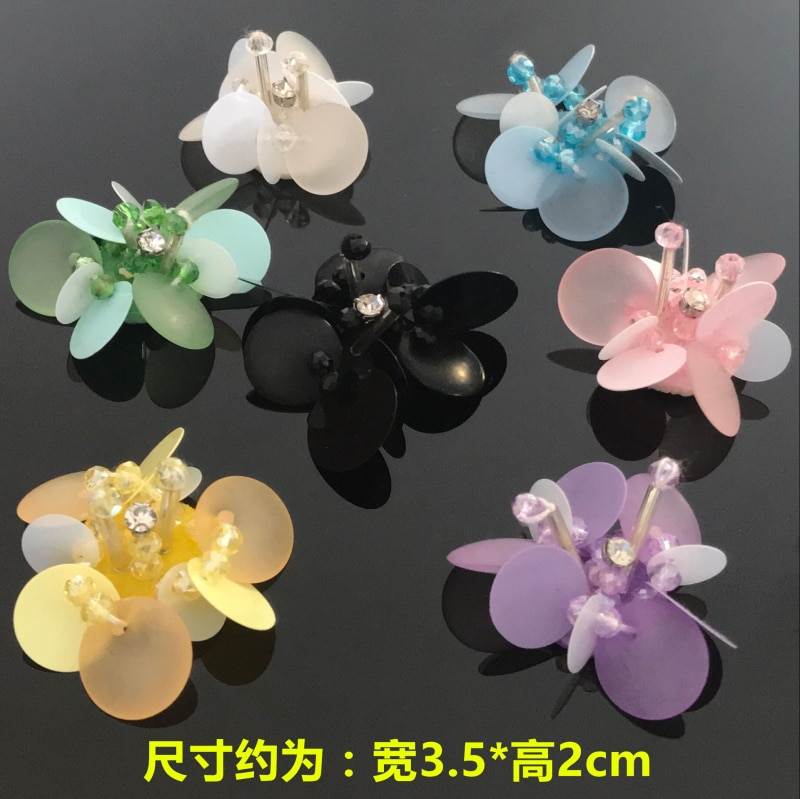10 Uds 3,5*2cm exquisito hecho a mano con cuentas 3D tela de flores multicolor calcomanía de zapato DIY parches decorativos calcomanías accesorios A968