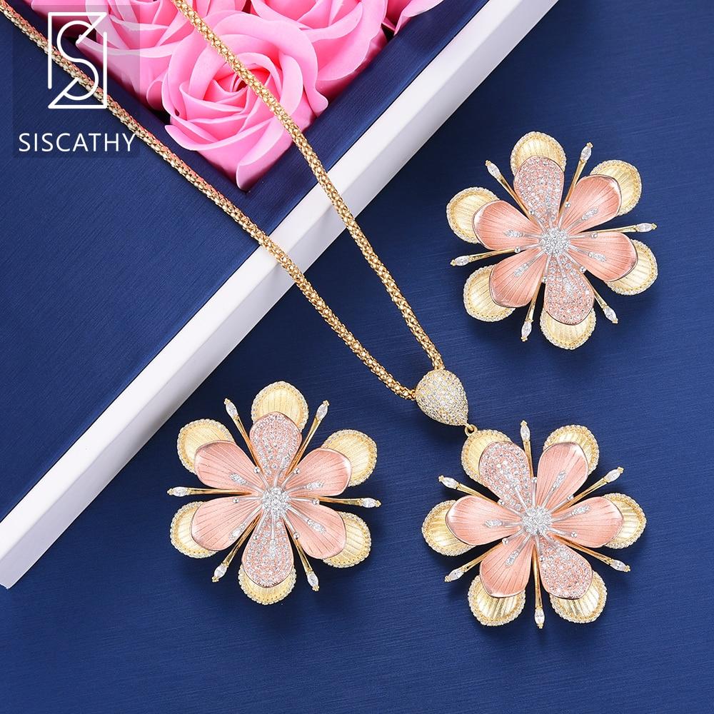 SisCathy 2 uds lujo flor collar de circonia cúbica pendientes de joyería nupcial de la boda de acero inoxidable joyeria mujer