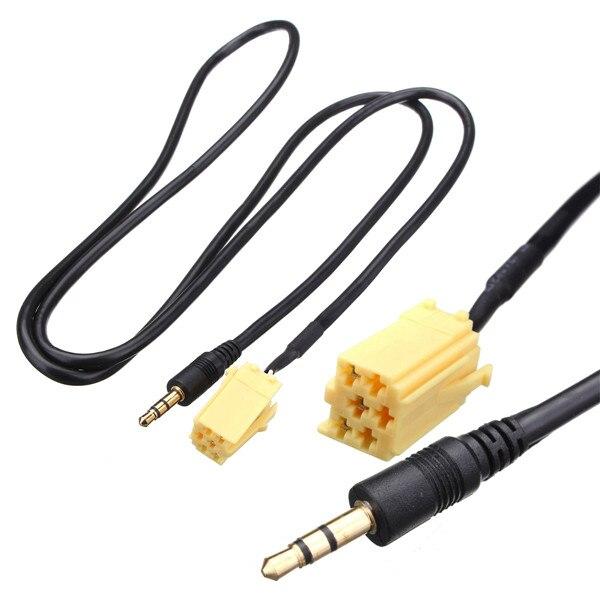 3.5mm jack aux adaptador de entrada de cabo de áudio para fiat grande punto mp3 banhado a ouro