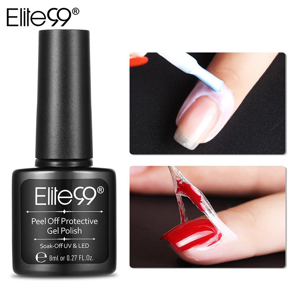 Elite99 8 ML Branco Rosa Retire o Líquido Da Arte Do Prego Base Coat Cuidado Fita de Látex Dedo Cutícula Creme Pele Protegida cola