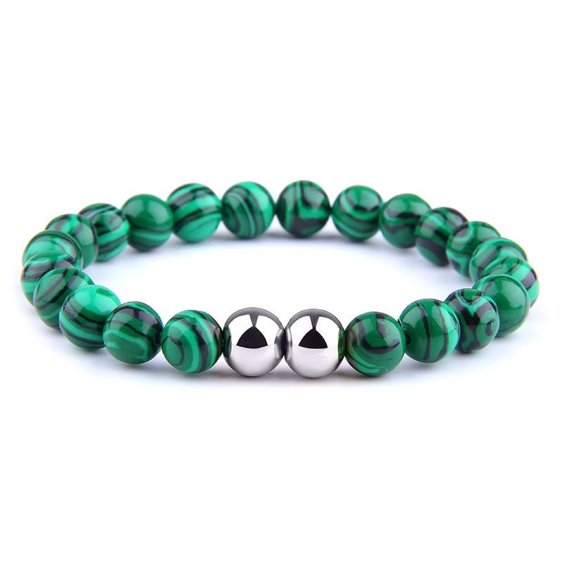 Azurite Malachite Beads Bracelets For couples Dumb Black Grind Stone Bracelet Elastic Energy Bangles Stainless Steel Bracelets
