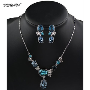 Full CZ Crystals Necklace Set Trendy Rhinestone Necklace Earrings Jewelry Set For Women Jewellery(JS0073)