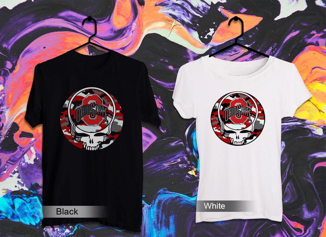 Camiseta divertida del cráneo del fútbol del Estado de Ohio camiseta divertida del color negro y blanco fresco 3 Cool Casual del orgullo camiseta Unisex de los hombres nueva moda