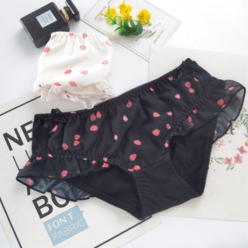 Japanischen Stil Nette Reizende Sweety Erdbeere Druck Frauen Höschen Baumwolle Mesh Prinzessin Niedrigen Taille Weichen Dame Unterwäsche Mädchen Breifs