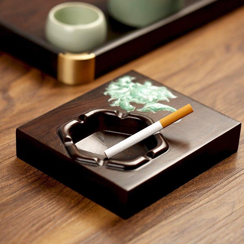 Cenicero de ébano estilo chino, regalo creativo para fumadores, Cenicero de madera hecho a mano para fumar, Cenicero Rectangular Retro para tabaco